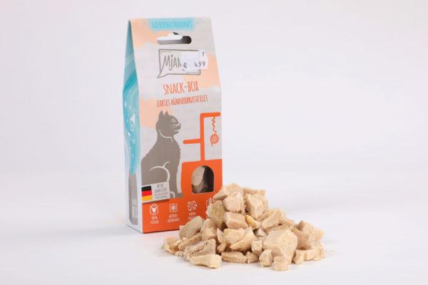 Mjamjam Snack-Box Zartes Hühnerbrustfilet Napf Express Hundefutter Leckerlies Katzenfutter Katzenfutter online kaufen