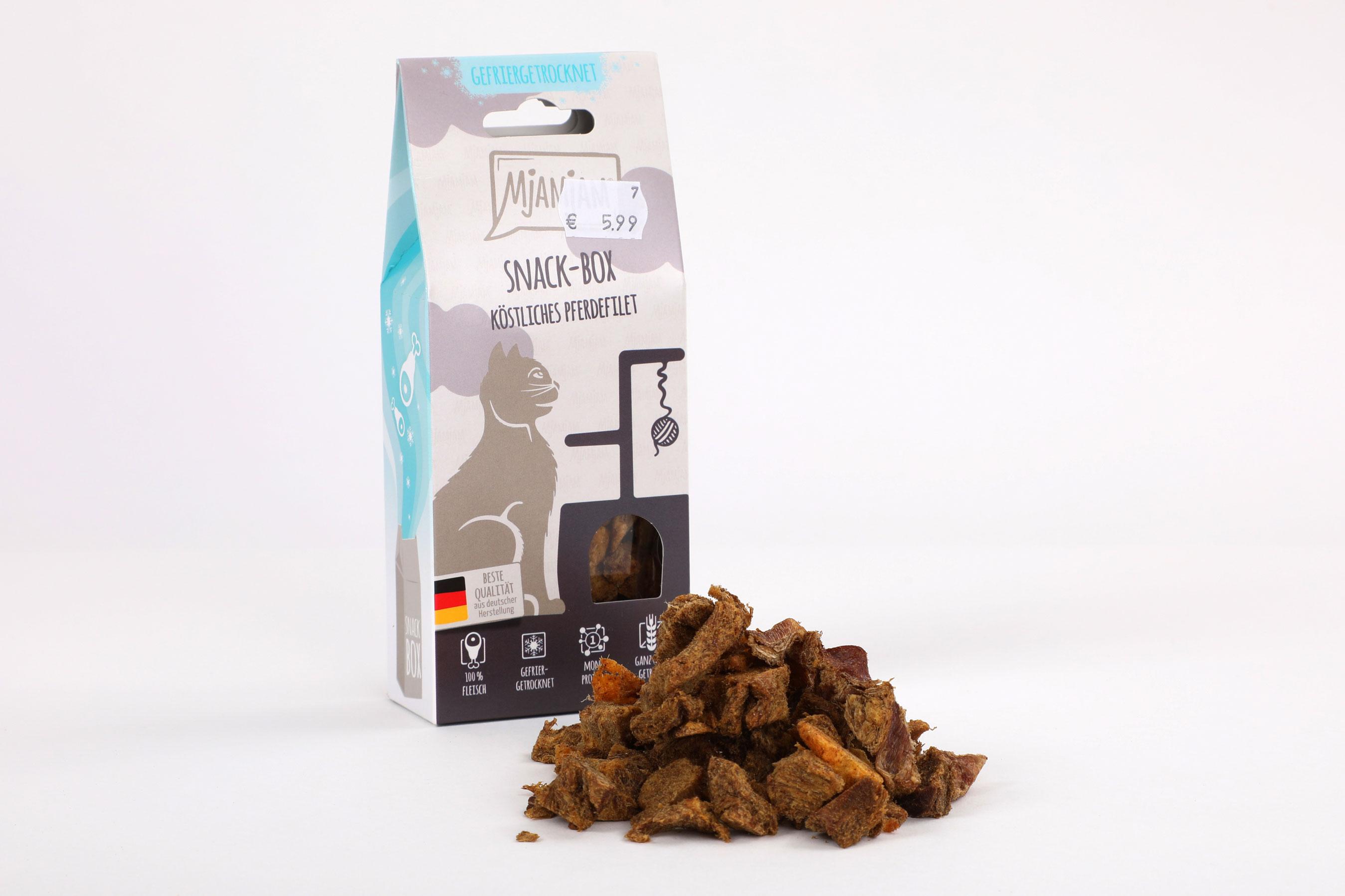 Mjamjam Snack-Box Pferd Napf Express Hundefutter Leckerlies Katzenfutter Katzenfutter online kaufen