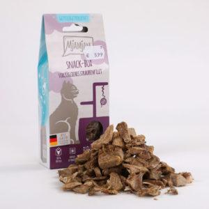Mjamjam Snack-Box Vorzügliches Straußenfilet Napf Express Hundefutter Leckerlies Katzenfutter Katzenfutter online kaufen