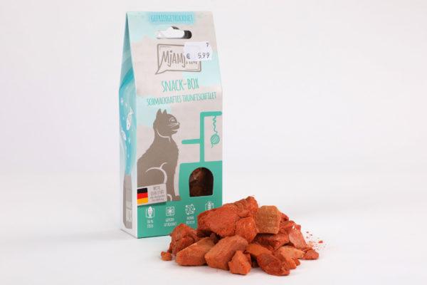 Mjamjam Snack-Box Schmackhaftes Thunfischfilet Napf Express Hundefutter Leckerlies Katzenfutter Katzenfutter online kaufen • Barf